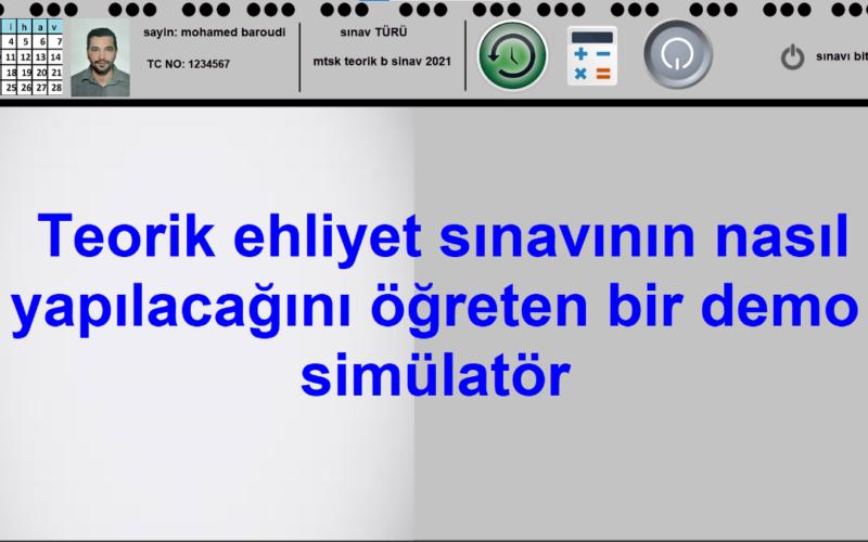 Türkiye'de elektronik sürücü belgesinin nasıl test edileceğini ve sınav sırasında bilgisayarla nasıl çalışılacağını öğreten ücretsiz bir demo simülatör sitesi.